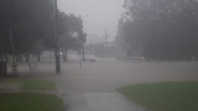 Flooding due to heavy rain near the Lismore shopping square