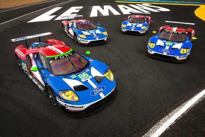 RETRO MUSCLE: Le Mans 24-Hour prepared 2016 Ford GTs in action in France as part of an action packed weekend of motor sport