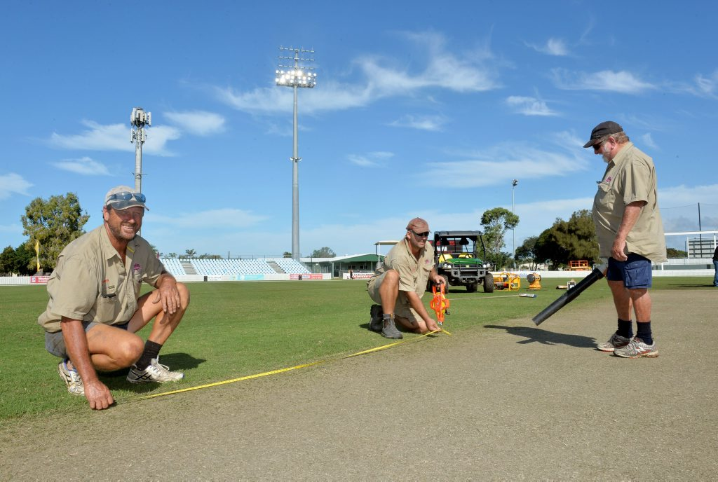 Ian Dunn, Hunter Willetts and Gerry Kingston taking care of the pitch at Harrup Park.