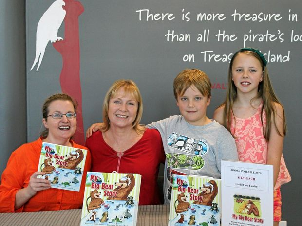 Author Cherie Curtis with illustrator Jacqui Read and children Nina and Brodyn Read at a public reading of the picture book, My Big Bear Story, at Bundaberg Regional Library.