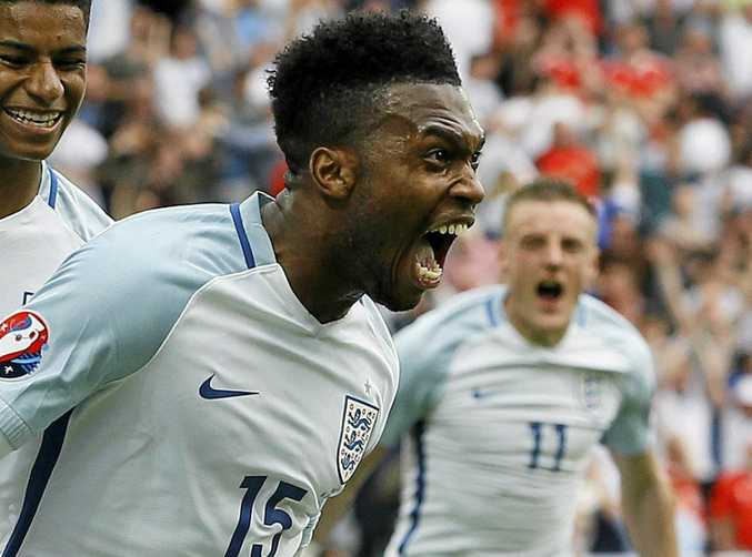 LATE WINNER: England's Daniel Sturridge celebrates after scoring his side's second goal during the Euro 2016 Group B soccer match between England and Wales at the Bollaert Stadium in Lens, France.
