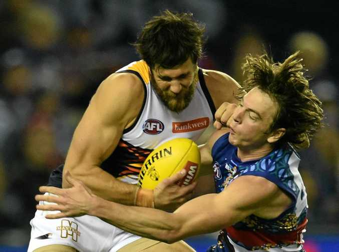 DANGER MAN: Josh Kennedy of the Eagles (left) will present a big challenge to the Brisbane Lions today.