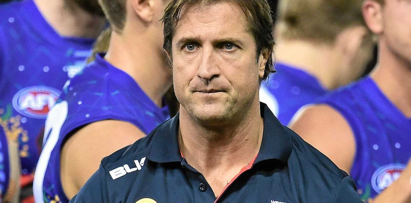 BIG TEST: Bulldogs coach Luke Beveridge during the round 11 AFL match between the Western Bulldogs and the West Coast Eagles.
