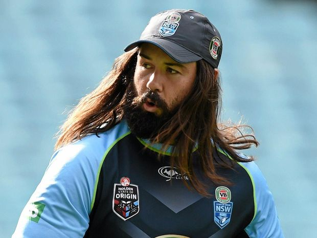 AIMING UP: Aaron Woods goes through his paces at New South Wales State of Origin training.
