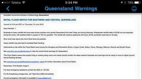 A flood watch alert issued by the Bureau of Meteorology.