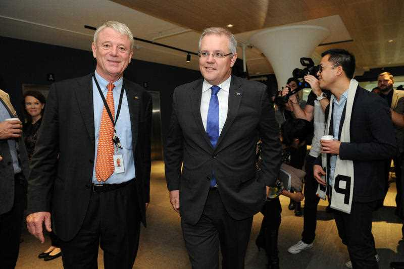 Australian Federal Treasurer Scott Morrison (centre) visits Tyro Fintech Hub in the federal seat of Sydney, in Sydney, Friday, June 17, 2016.