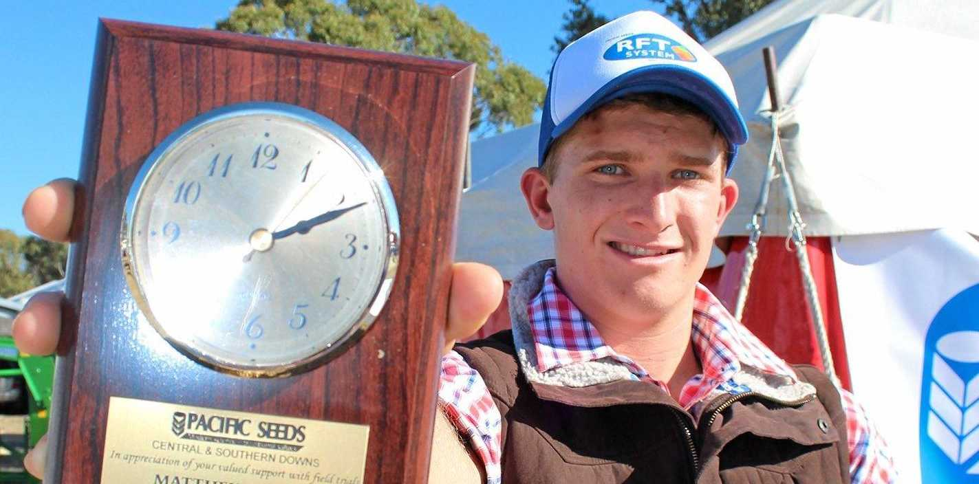 YOUNG FARMER: Matt Eising, 'Kahmoo', Condamine, was presented with a trial cooperator award at FarmFest.