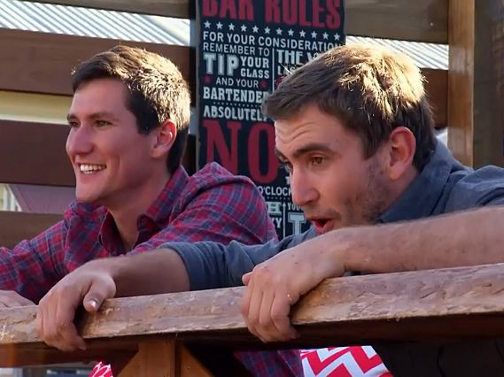 Luke and Cody Cook react to their new backyard bar on House Rules.
