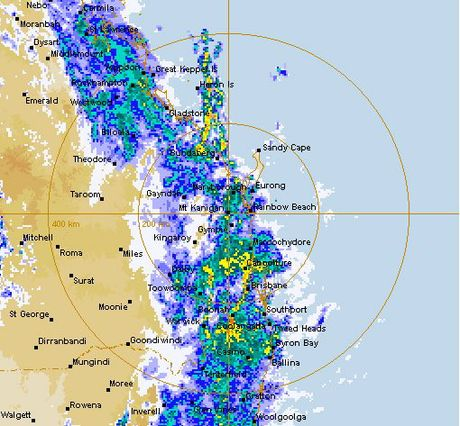 The radar shows plenty of rain over Queensland on Sunday afternoon.