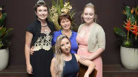 2016 Jacaranda Queen candidates (from left) Sharnie Wren, Matron of Honour Carol Smith, Heidi Madsen and Shannon Carter (front) who are at the annual Jacaranda meet and greet at the GDSC on Sunday,19th June, 2016.