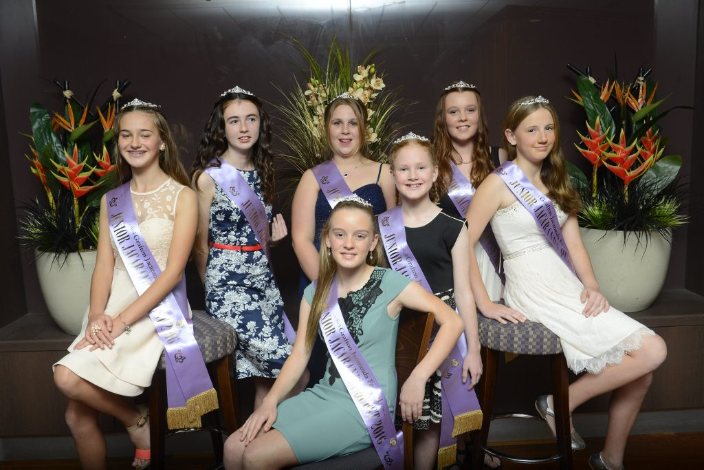 2016 Jacaranda Princess candidates (back from left) Lucy Hackett, Kate Smith, Chloe Hallem, Maeve Dougherty, Annelise Uren and Ariana Smajstr (seated) are at the annual Jacaranda meet and greet at the GDSC on Sunday,19th June, 2016.