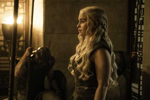 Emilia Clarke in a scene from season six episode eight of Game of Thrones.