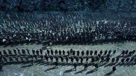 The 'battle of the bastards' in a scene from season six episode nine of Game of Thrones.