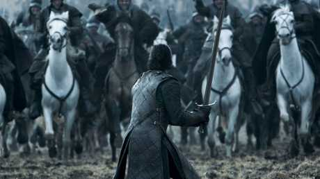 Kit Harington as Jon Snow in a scene from season six episode nine of Game of Thrones.