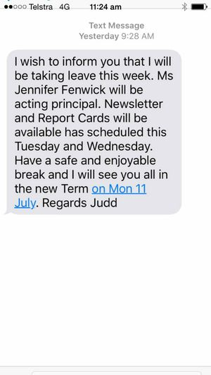 Ruth Christodoulou received a text message on Saturday morning from Peak Crossing State School principal Judd Mackie.Photo Contributed