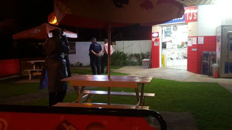 Crime scene photos were taken during an investigation at TJ's Mini Mart in Evan Street, South Mackay, following a robbery tonight.