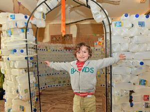 Kids build milk bottle hut for dairy farming awareness