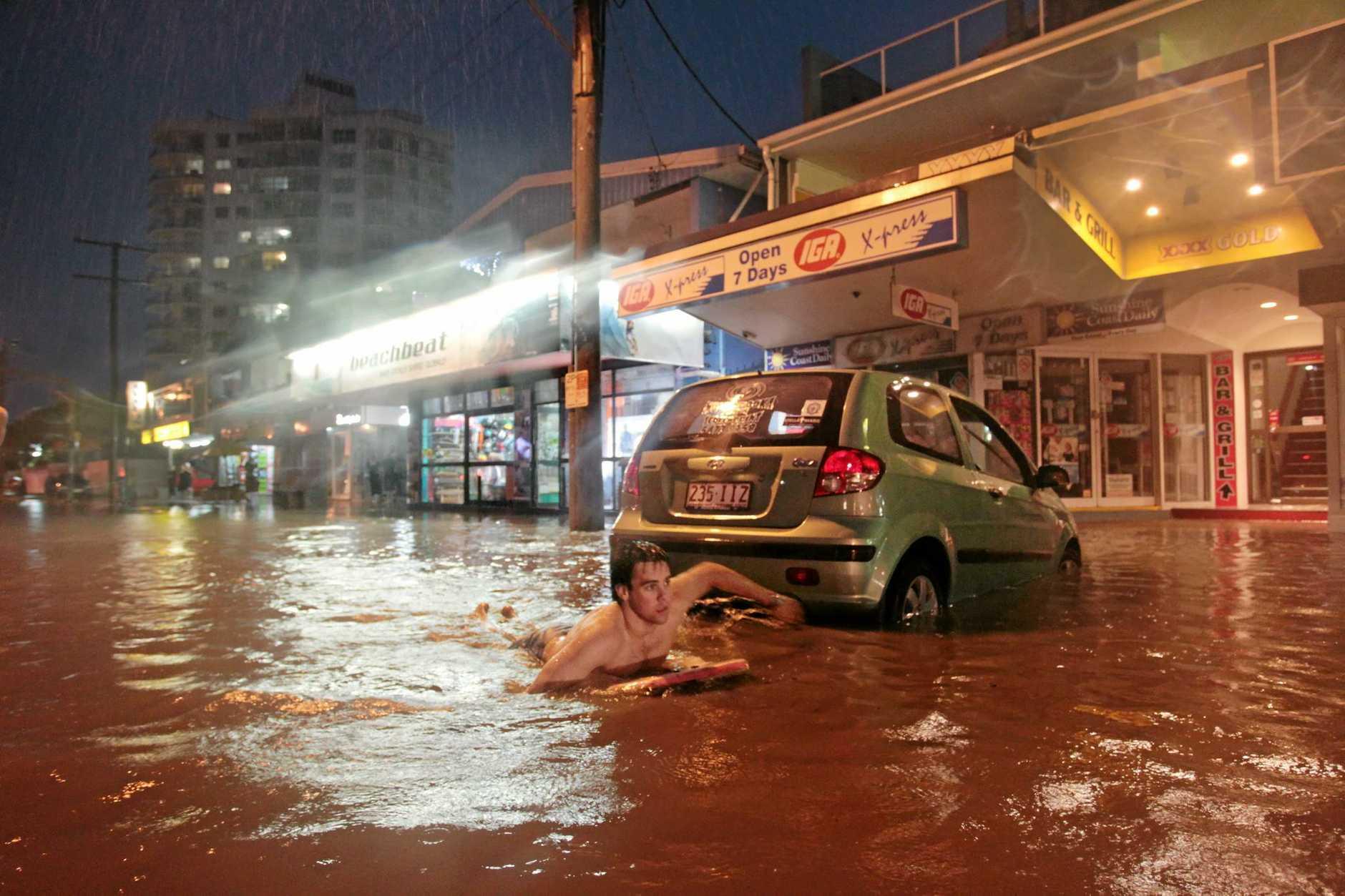 Torrential rain poured down all over the Sunshine Coast and caused flash flooding. Alexandra parade Alexandra Headlands.