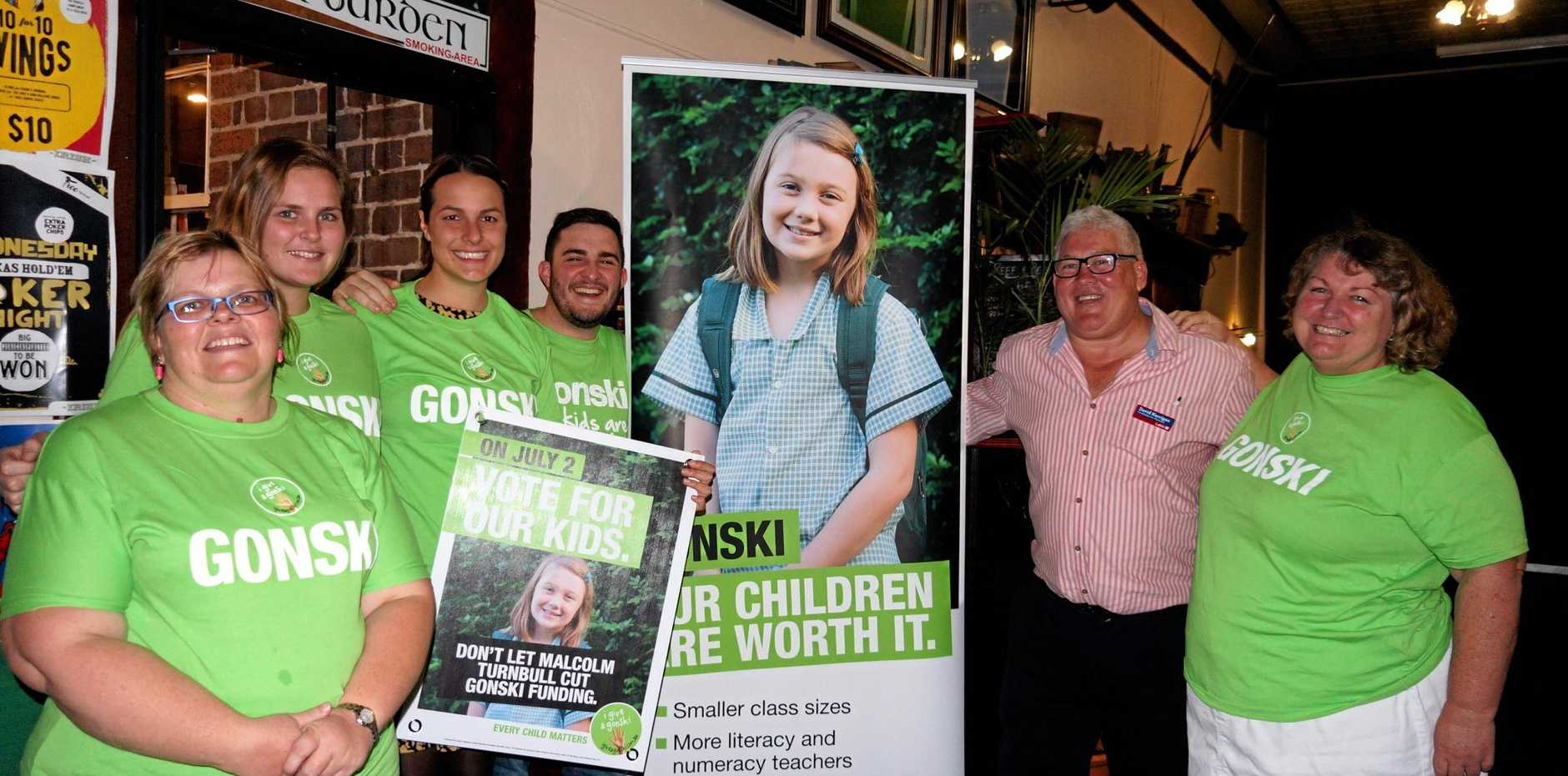 BACK GONSKI: Labor candidate for Maranoa David Kerrigan with the Teacher's Union on Friday.