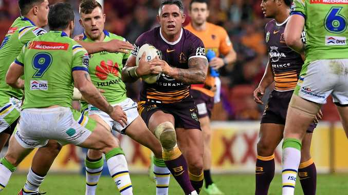 CALLING IT QUITS: Corey Parker of the Brisbane Broncos in action against the Canberra Raiders.