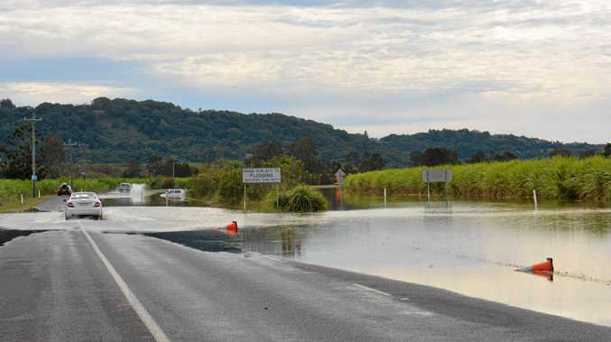 Drivers plough through floodwaters on Tweed Valley Way after ignoring road closed signs.