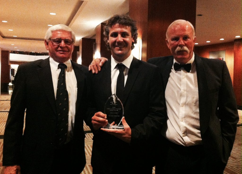 The Daily Examiner sports editor Bill North (middle) holding the Country Media Award with Clarence River Jockey Club chairman Graeme Green and Racing NSW racing writer Tony White at the Racing NSW 2013/14 Country and Provincial Racing Awards at the Four Seasons Hotel in Sydney on the night of Friday, October 14th 2014. Photo Bill North / Daily Examiner