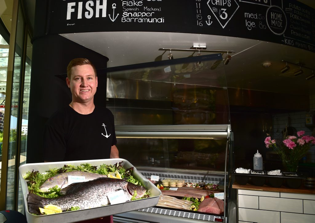 Ryan Scells at his new Fish and Chippery on the Esplanade Mooloolaba.
