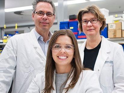 Breast cancer researchers (from left) Professor Geoff Lindeman, Emma Nolan and Professor Jane Visvader. Photo / Supplied