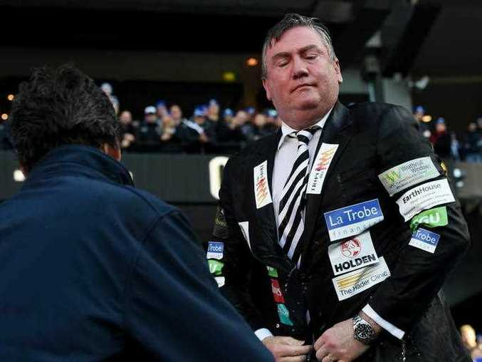 Eddie McGuire takes part in the Big Freeze Ice Slide challenge fundraising event for Motor Neurone Disease before the Melbourne Demons and Collingwood Magpies round 12 match at the MCG in Melbourne, Monday, June, 13, 2016.