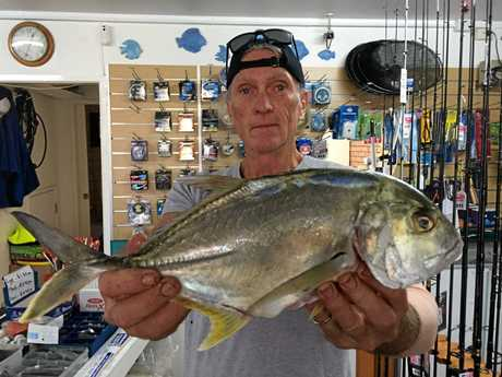 Greg with a nice Giant Trevally caught on a live herring from Chambers Island in the Maroochy River.