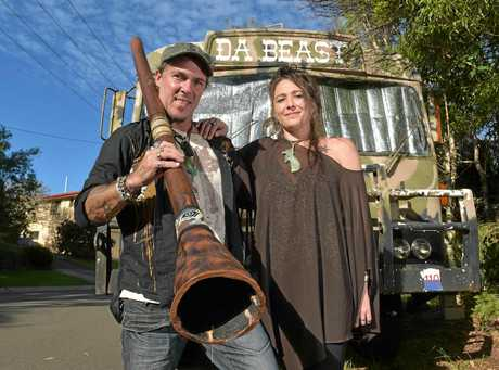 Jason Morris and his wife Topaz Morris were confronted by police at a Buderim kindergarten after their didgeridoo was misten for a weapon.