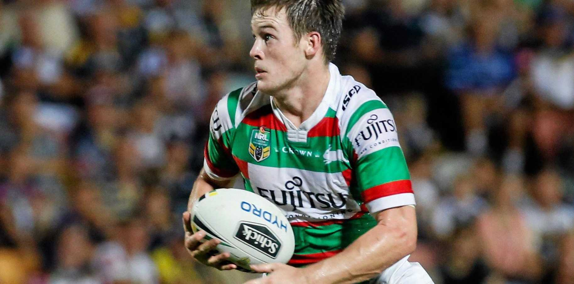 MOVING ON: Rabbitohs playmaker Luke Keary takes the ball towards the line.