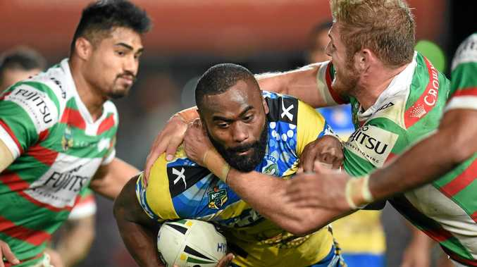 GOING NOWHERE: Semi Radradra of the Eels is tackled by Rabbitohs defenders in their Round 10 clash.