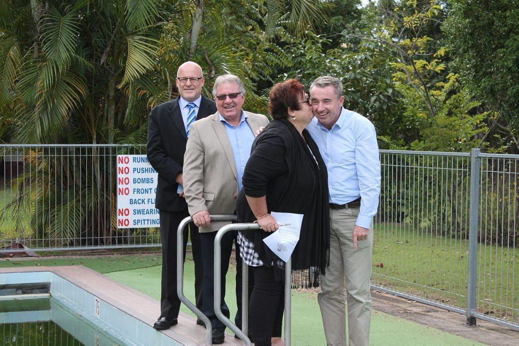 Kyogle general manager David Tuxford, deputy mayor John Burley, regular swimmer and Kyogle resident Jeanette Netty Foy-Wilson and Kevin Hogan MP