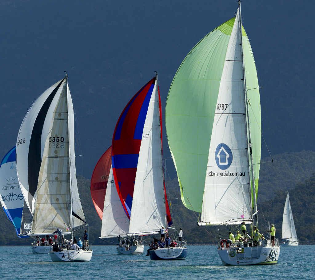 AIRLIE RACING: The fleet during 2015 Airlie Beach Race week.