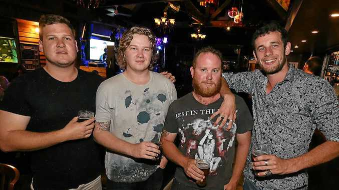 NIGHT OUT: Nathan Kane, Brodie Shaw, Adam New and Nathan Tracey enjoy a night out at the Criterion Hotel late last year.