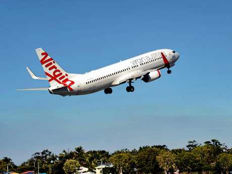 Virgin Australia plane taking off from Sunshine Coast Airport.