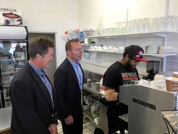 Former Prime Minister Tony Abbott joined Cowper MP Luke Hartsuyker at the Traditionally Grounded Café in Nambucca Heads.