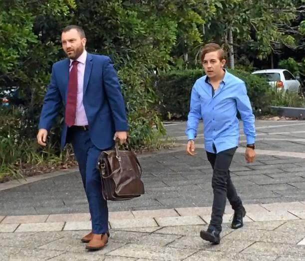 Suspended Sunshine Coast jockey Luke Ronald Tarrant (right) 21, enters Caloundra Court House with defence solicitor Matthew Tutt.