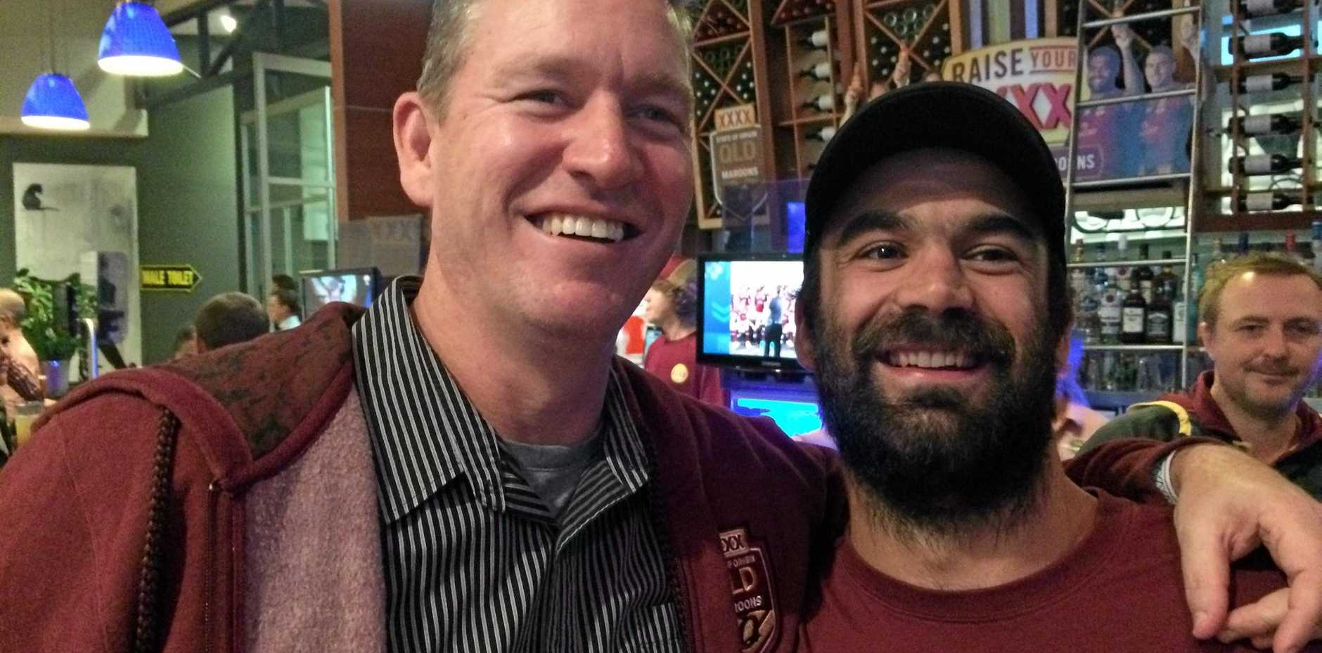 Brisbane Broncos Corporate Communications Manager Trad McLean and French rugby league player Bastien Dintilhac sharing a beer and a few stories before Origin II in Brisbane.