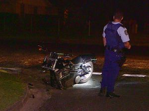 Suspected bikie flees from collision with car