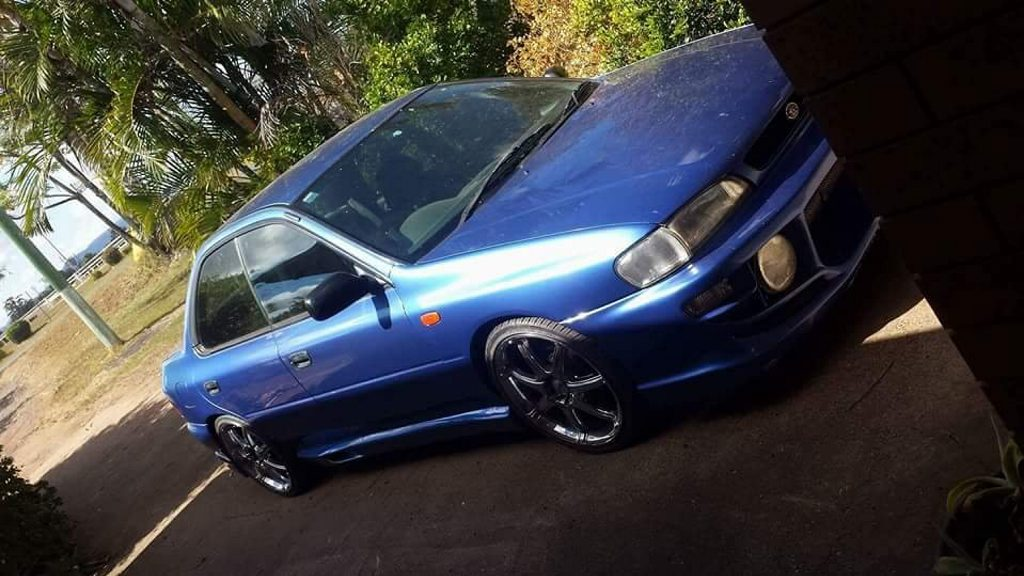 Police are looking for this blue Subaru WRX sedan with the registration plate 877 WJV after it was stolen from a Southside man on Monday.