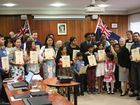 Twenty six Southern Downs residents receive their Australian Citizenship certificates from Mayor Tracy Dobie.Photo Sophie Lester / Warwick Daily News