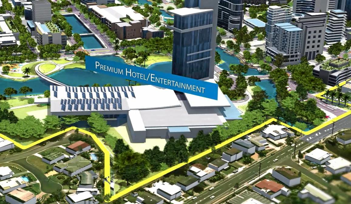 A hotel and entertainment complex is envisaged for the land behind houses on Maud St (pictured here in the foreground). Image taken from SunCentral's flyover video showing its vision for the new Maroochydore CBD. June 23,2016.