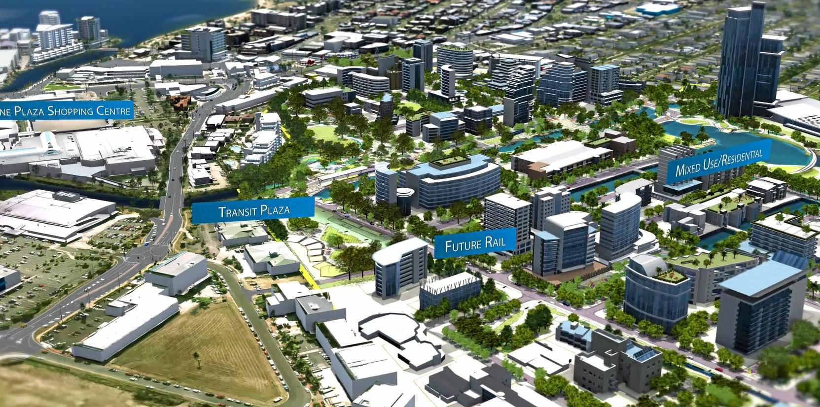 This impression pictures Sunshine Plaza on the left and Maroochy Blvd on the diagonal, with the yellow Maroochy CBD boundary line behind the Maroochy Homemaker Centre, which includes Harvey Norman. Image taken from SunCentral's flyover video showing its vision for the new Maroochydore CBD. June 23,2016.