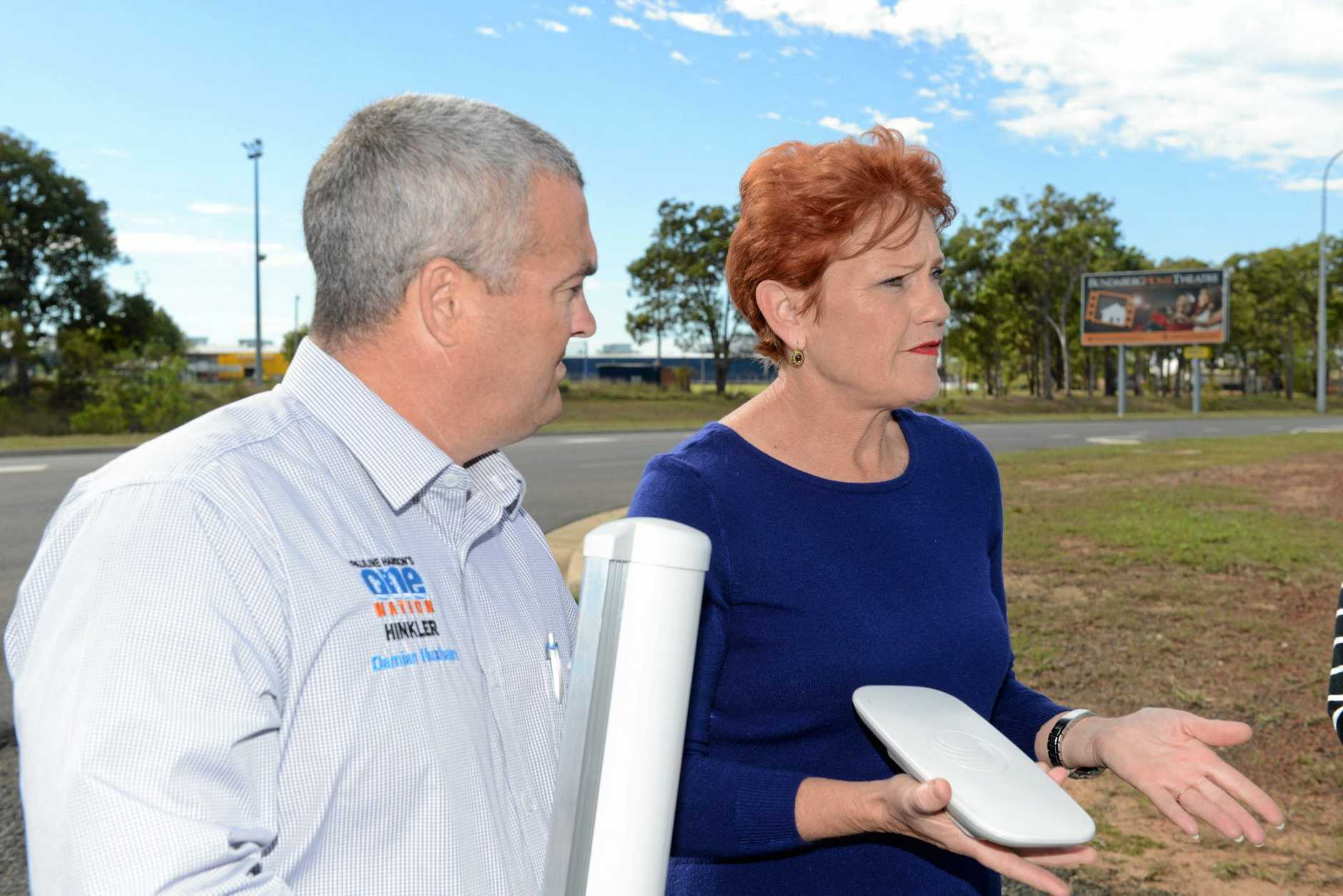 WIRELESS THE WAY: Damian Huxham and Pauline Hanson say the NBN will be outdated before it's completed in Bundaberg.
