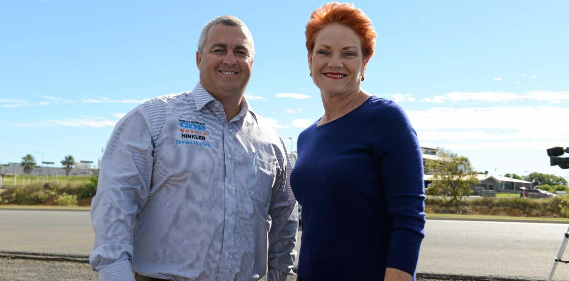 CAMPAIGN VISIT: Damian Huxham and Pauline Hanson in Bundaberg.