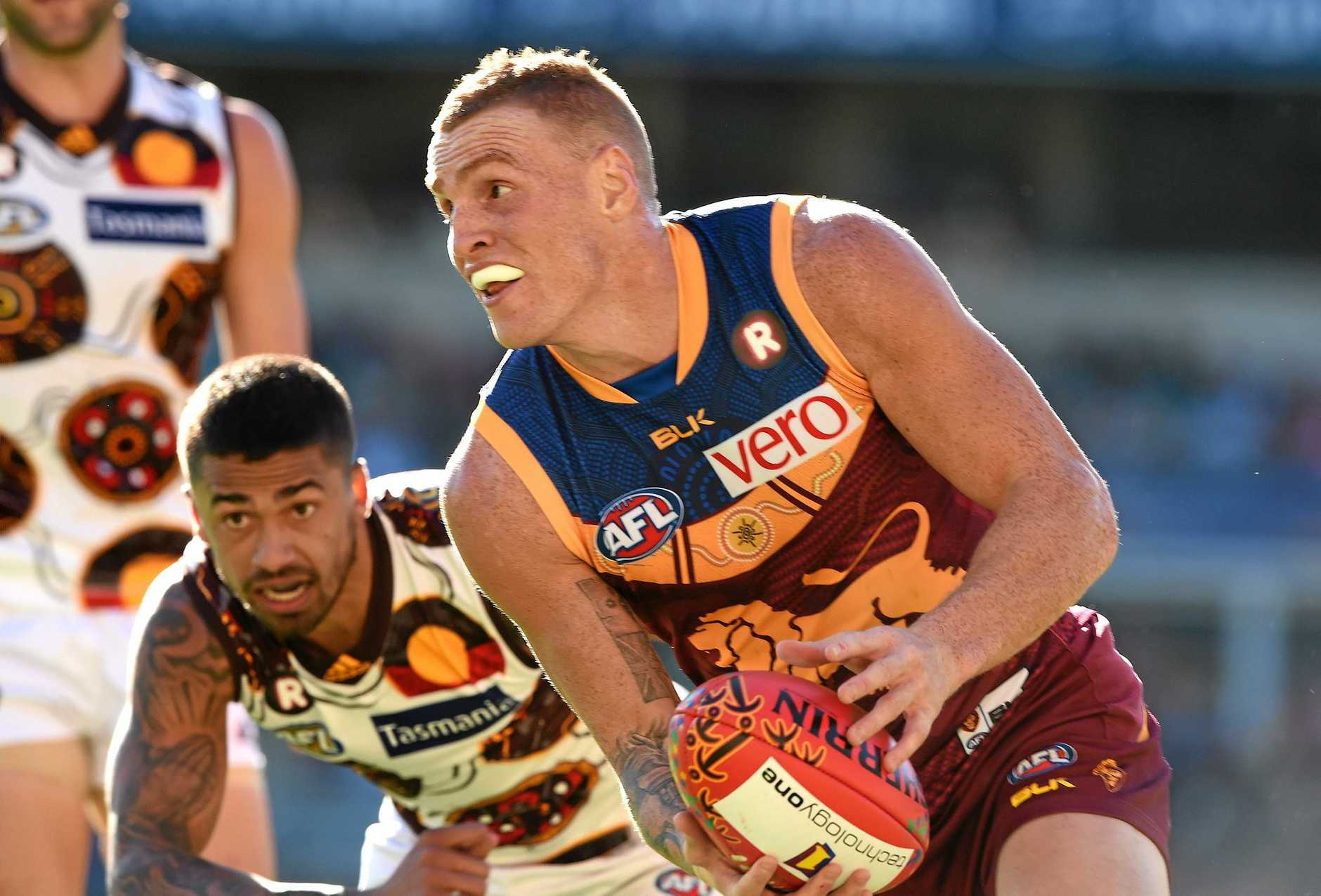 MUCH IMPROVED: Lions player Mitch Robinson during the round 10 AFL match between the Brisbane Lions and the Hawthorne Hawks at the Gabba.