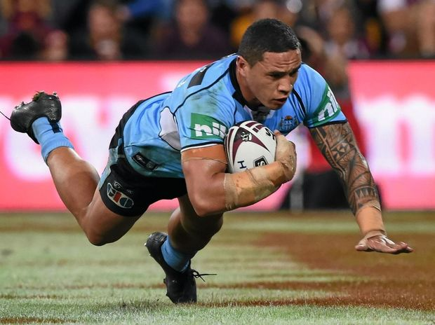 FUTURE STAR: Tyson Frizell of the Blues scores a try during game two of the State of Origin series at Suncorp Stadium.