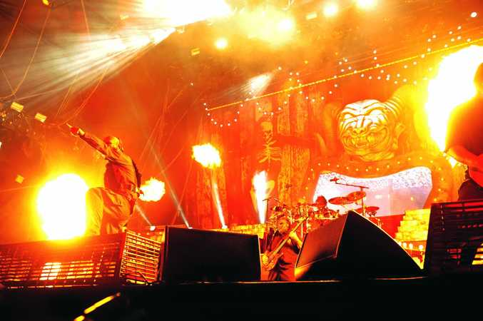 It was a fiery introduction to Slipknot on the first night of Soundwave 2015 in Birsbane. Photo Marc Stapelberg / The Northern Star